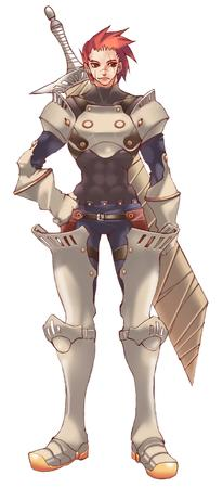 armor glove greaves pauldrons redhead sword // 757x1654 // 621.9KB