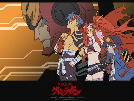 bikini cape gloves goggles gurren_lagann jacket kamina long_hair mecha ponytail redhead scarf short_shorts shorts simon vector yoko // 1600x1200 // 416.9KB