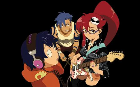 glasses guitar gurren_lagann headphones high_res kamina long_hair ponytail redhead short_shorts shorts simon sweatshirt tank_top thighhighs vector yoko // 1920x1200 // 1.1MB