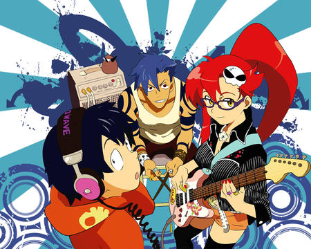 boota desktop glasses guitar gurren_lagann headphones kamina long_hair ponytail redhead short_shorts shorts simon tank_top thighhighs yoko // 1280x1024 // 924.7KB