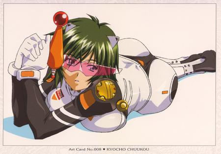 gloves green_hair gun high_res ikki_tousen jumpsuit // 2559x1785 // 525.1KB