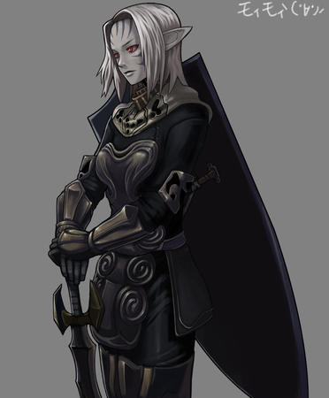 armor elf gauntlets gray_hair lineage shield sword // 827x1000 // 116.4KB