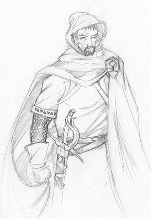bw cape gloves goatee hood sketch sword // 508x738 // 76.7KB