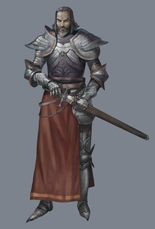 armor beard gauntlets gray_hair greaves pauldrons sword // 642x950 // 76.3KB