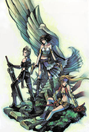 bikini blonde boots braids brunette ffx2 group gun high_res payne rikku scarf skirt sword // 1979x2922 // 805.7KB