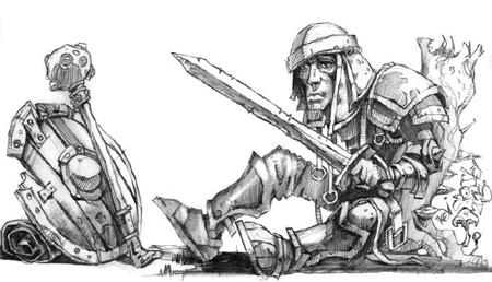 bw dnd greaves helmet pauldrons shield sword // 722x414 // 76.5KB