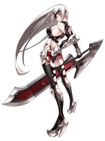 eyepatch gray_hair high_heels long_hair sword // 477x640 // 71.4KB