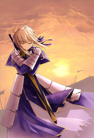 blonde braids dress fate gauntlets ribbons sabe sword // 818x1200 // 185.3KB