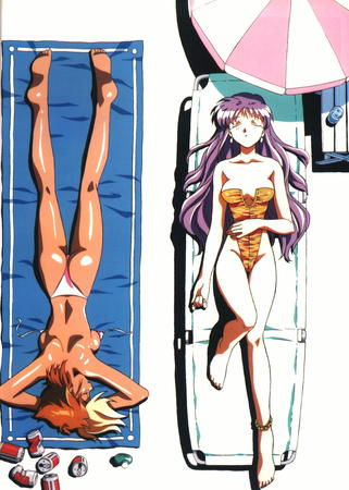 bikini dirty_pair_flash kei swimsuit towel umbrella yuri // 1003x1404 // 268.7KB