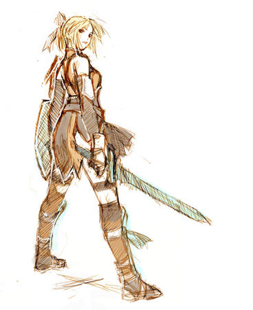 blonde gloves greaves shield sketch sword // 817x1000 // 142.0KB