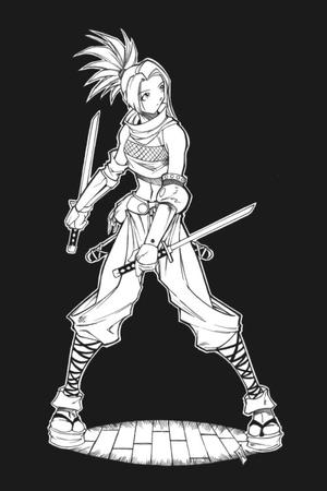 bw gloves ninja ponytail sandals sword // 500x750 // 47.6KB