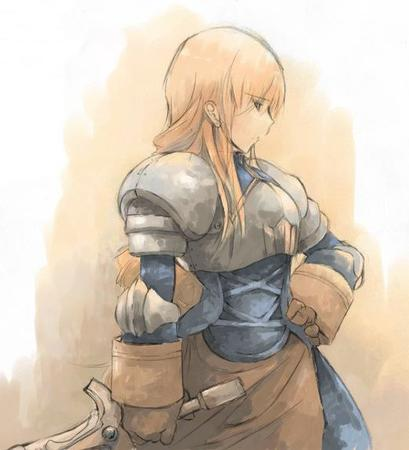 agrias armor blonde fft final_fantasy gauntlets long_hair pauldrons sword // 522x574 // 43.2KB