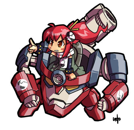 gloves gurren_lagann mecha ponytail redhead scarf super_deformed // 600x578 // 137.3KB