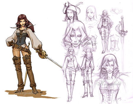 brunette composite gloves long_hair pirate sketch sword thighhighs // 1048x822 // 633.8KB