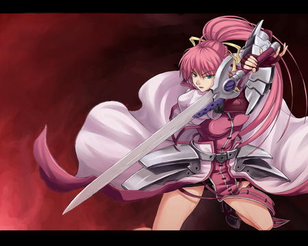 braids desktop gloves pink_hair ponytail redhead ribbons signum skirt sword // 1280x1024 // 374.9KB