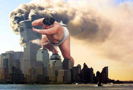 911 humor im_going_to_hell sumo wtc // 450x306 // 22.9KB