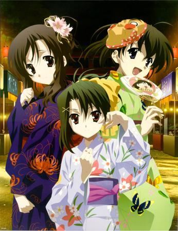 brunette fan flower high_res kotonoha school_days sekai yukata // 2200x2865 // 812.8KB