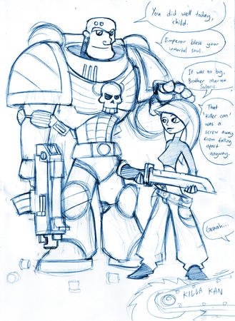 armor gun kim_possible monochrome sketch space_marine sword warhammer wh40k // 674x922 // 739.7KB
