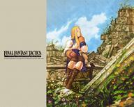 agrias blonde boots desktop fft final_fantasy long_hair pauldrons ruins // 1280x1024 // 533.0KB