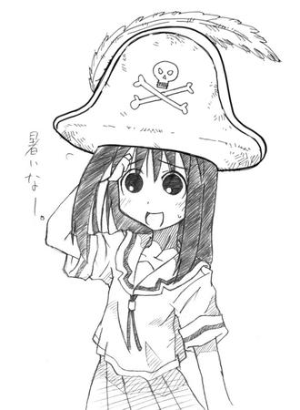 azumanga_daioh brunette bw hat pirate school_uniform seifuku sketch // 608x829 // 86.2KB