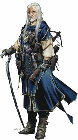 beard blue_eyes boots cane crossbow dnd gloves gray_hair long_hair pathfinder wayne_reynolds wizard // 1200x2145 // 187.1KB