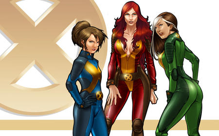 brown_eyes brunette butt cleavage gloves green_eyes group jean_grey jumpsuit kitty_pryde marvel ponytail redhead rogue x-men // 1280x800 // 172.5KB