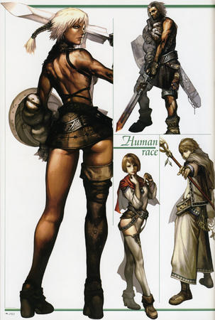 armor boots cape composite human lineage shield skirt staff sword thighhighs // 1869x2780 // 2.3MB