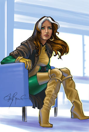 boots gloves green_eyes jacket jumpsuit long_hair rogue thighhighs x-men // 709x1050 // 615.2KB