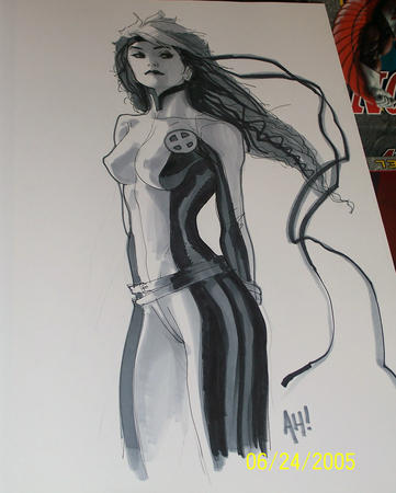 bw jumpsuit long_hair rogue x-men // 1000x1248 // 150.2KB