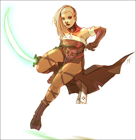 blonde boots green_eyes ponytail sword // 756x778 // 107.5KB