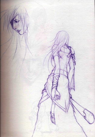 long_hair monochrome sketch skirt sword // 603x864 // 159.7KB