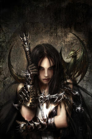 brown_hair brunette dragon gloves long_hair sword // 667x1000 // 208.6KB