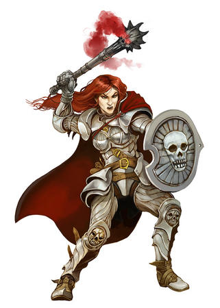 armor cape gauntlets greaves long_hair mace pauldrons redhead shield // 600x840 // 170.0KB