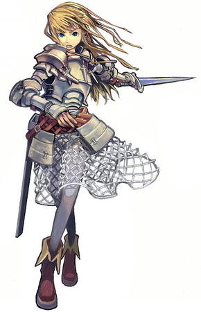 armor blonde blue_eyes boots pauldrons skirt sword // 400x620 // 60.7KB
