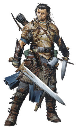 armor arrows bow brown_eyes brunette dnd paizo pathfinder pauldrons sword wayne_reynolds // 1000x1684 // 226.6KB