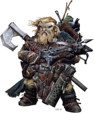 axe beard blonde blue_eyes boots crossbow dwarf gloves paizo pathfinder wayne_reynolds // 611x733 // 109.7KB