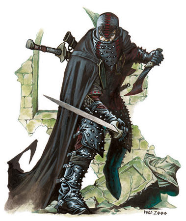 assassin boots cloak dagger dnd sword wayne_reynolds // 400x475 // 94.4KB