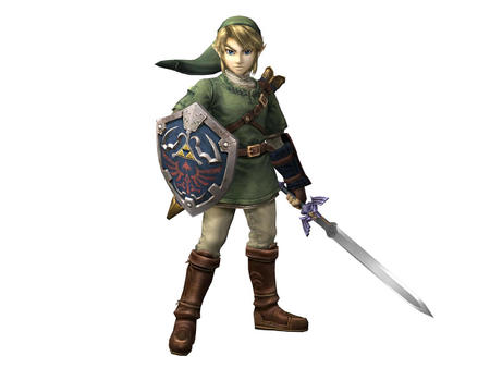 blonde blue_eyes boots hat high_res link nintendo shield sword zelda // 1600x1200 // 103.9KB