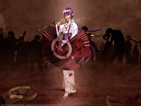 busujima_saeko desktop hsotd kimono long_hair purple_hair sandals sword umbrella zombies // 1600x1200 // 613.5KB