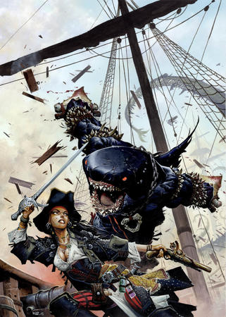 gun hat landshark pirate shark ship sword // 1037x1455 // 253.6KB