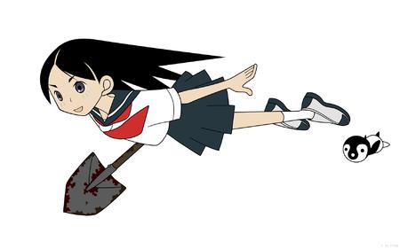 brunette flying kirie sayonara_zetsubou_sensei school_uniform seifuku shovel skirt vector // 1920x1200 // 194.8KB