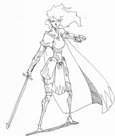 armor bw cape long_hair sketch sword tg // 790x936 // 370.9KB