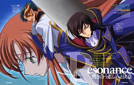 brunette cape code_geass composite gloves high_res lelouche orange redhead shirley // 6114x3866 // 2.0MB