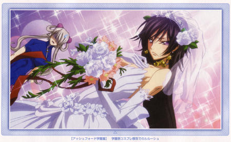 bride brunette code_geass crossdressing flower gloves high_res lelouche // 2362x1460 // 1.5MB