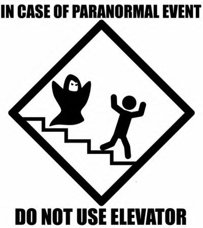 bw elevator humor paranormal sign stairs // 602x677 // 182.8KB