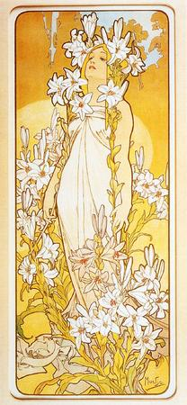 blonde blue_eyes flower mucha // 949x2050 // 307.6KB