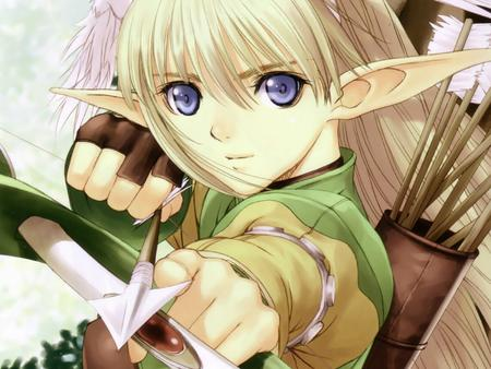 arrows blonde blue_eyes bow elf elwing gloves tony_taka // 1600x1200 // 219.3KB