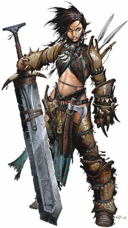 barbarian brown_eyes brunette dnd gloves greaves paizo pathfinder sword thighhighs // 846x1500 // 138.2KB