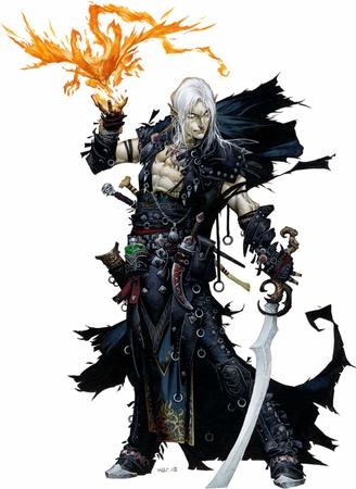 blue_eyes cape dnd elf fire gray_hair paizo pathfinder sword vest // 1093x1500 // 144.7KB