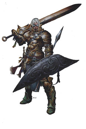 armor dnd gray_hair paizo pathfinder shield sword // 567x843 // 64.2KB